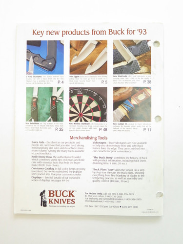 1993 BUCK DEALER KNIFE CATALOG BROCHURE BOOK FIXED FOLDING 110 124 119 184
