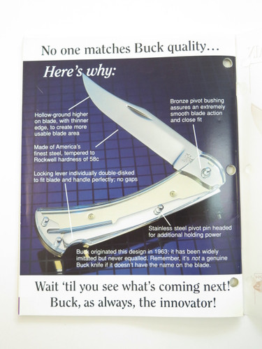 1995 BUCK DEALER KNIFE CATALOG PRICE LIST BOOK FIXED FOLDING 110 124 119 184