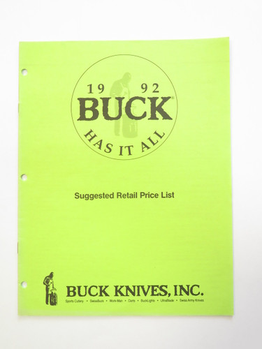 1992 Buck Dealer Knife Catalog Price List Book Fixed Folding 110 124 119