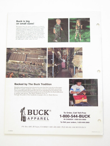 1988 BUCK KNIVES ACTIONWEAR CLOTHING DEALER CATALOG BROCHURE 110 124 119 184