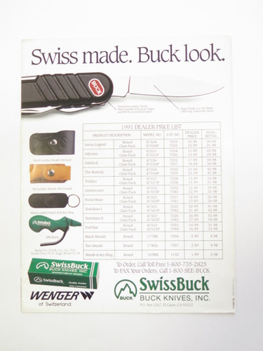 1980s BUCK DEALER SWISS TOOL KNIFE CATALOG BOOK FOLDING 110 124 119 184