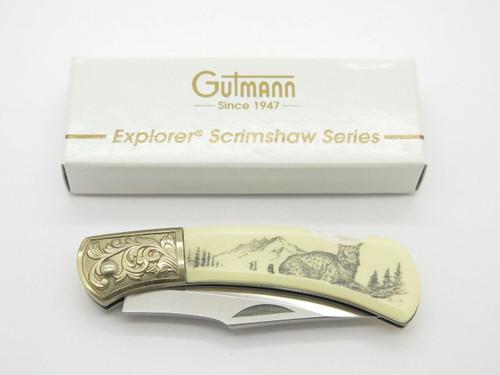 Gutmann Explorer G Sakai Seki Japan Folding Lockback Pocket Knife Scrimshaw Lynx