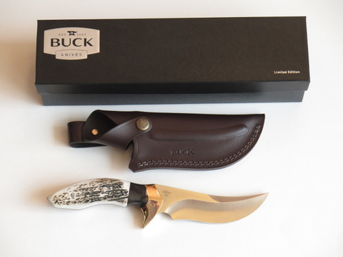 BUCK CUSTOM LIMITED 408 KALINGA PRO S30V ELK STAG & BUFFALO FIXED HUNTING KNIFE