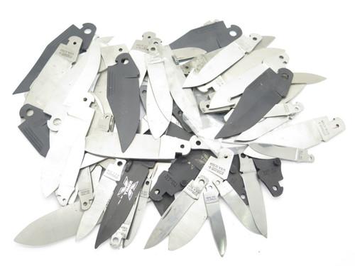 LOCBACK LOT of 60 + VTG SCHRADE USA FOLDING POCKET KNIFE BLADE BLANK MAKING PART