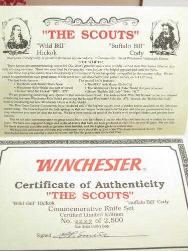 VTG 1988 WINCHESTER UMC THE SCOUTS WILD BUFFALO BILL TRAPPER FOLDING KNIFE SET