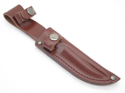"""Marbles 5.25"""" & 3"""" Twin Combo Fixed Blade Hunting Knife Leather Sheath"""