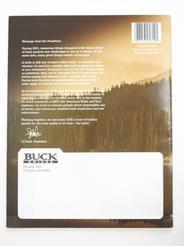 2002 Buck Dealer Knife Catalog Merchandise Book Fixed Folding 110 124 119
