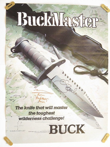 BUCK 184 BUCKMASTER NAVY SEALS SURVIVAL KNIFE POSTER SIGNED by CJ BUCK & NEYMAN