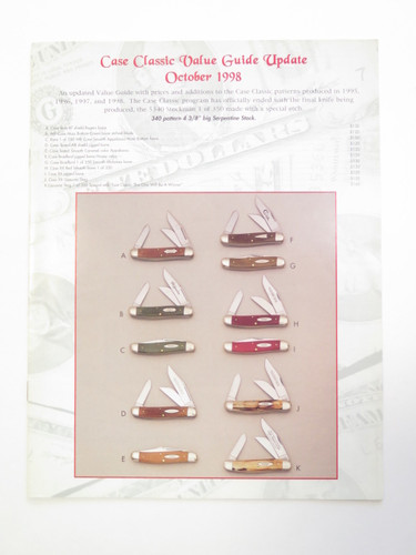 1998 Case XX Classics Dealer Folding Knife Catalog Price List Update Booklet