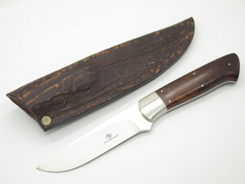 Arno Bernard Custom Handmade Burlwood N690 Blade And Custom Leather Sheath