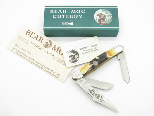 1993 BEAR CUTLERY USA NKCA CLUB STOCKMAN SAMBAR STAG FOLDING POCKET KNIFE