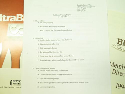 Lot Buck Tool Bucktool Knife Folder BCCI Directory Ultrablade + 110 124 119 184