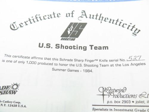 VINTAGE 1984 OLYMPICS SCHRADE 152 SHARPFINGER GOLD ETCH US SHOOTING TEAM FIXED KNIFE