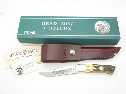 Vtg 1993 Bear Cutlery USA NKCA Club Stag Fixed Blade Hunting Knife & Sheath