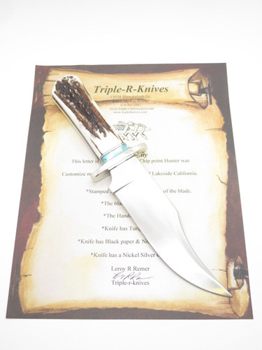 Custom Limited RRR Leroy Remer Schrade Bowie Knife Elk Stag Fixed Hunting Knife