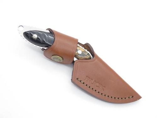 Buck 196 Mini Alpha Hunter Custom Buffalo Horn Small Fixed Blade Hunting Knife