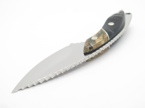 BUCK 196 MINI ALPHA HUNTER CUSTOM BUFFALO HORN SMALL FIXED BLADE HUNTING KNIFE