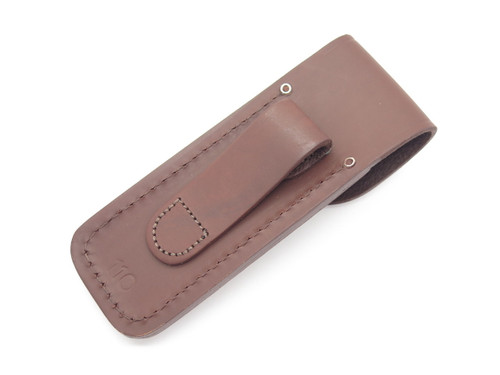 BCCI CLUB 25th ANNIVERSARY BUCK 110 FOLDING HUNTER BROWN LEATHER KNIFE SHEATH