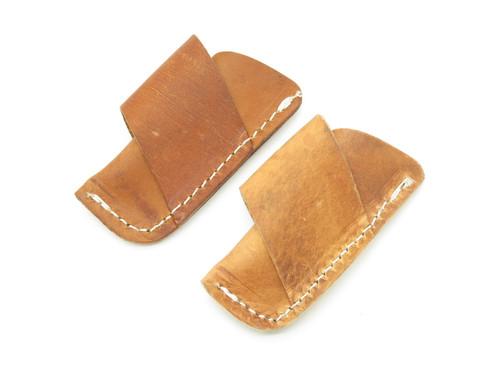 Lot of 2 ~ Case XX Side Draw Leather Horizontal Folding Pocket Knife Sheath