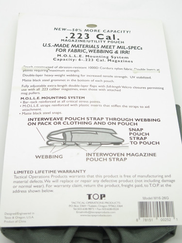 T.O.P M1626G .223 Cal Gray 6 Mag Magazine Ammo Pouch Case Holster Molle Bag