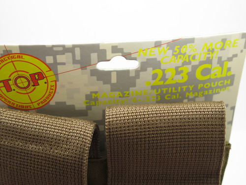 T.O.P M1626GTAN .223 Cal Tan 6 Mag Magazine Ammo Pouch Case Holster Molle Bag
