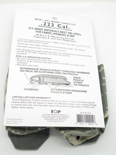 T.O.P M1626 .223 Cal Digi Camo 6 MAG Magazine Ammo Pouch Case Holster Molle Bag