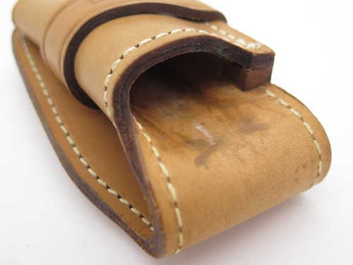 Custom Buck 112 Natural Brown Leather Fixed Blade Knife Sheath