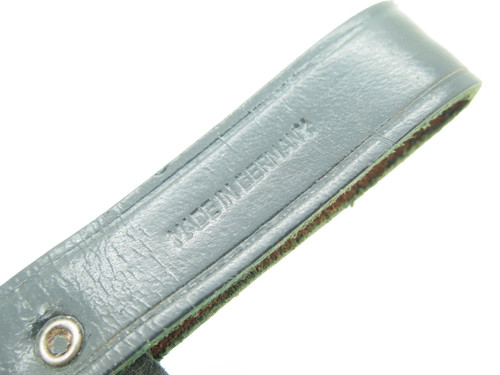 """Vtg Germany 4.75"""" Blade Small Green Leather Fixed Blade Hunting Knife Sheath"""