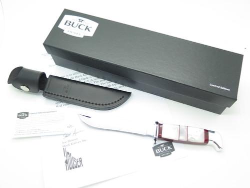 Buck 105 Pathfinder Custom Mother of Pearl Jasper Fixed Blade Hunting Knife