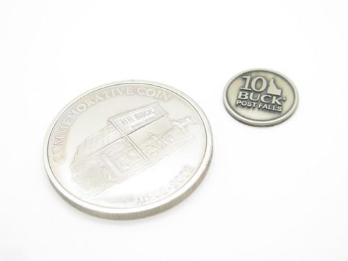 LOT - 2002 BUCK KNIVES 100th COIN IDAHO 2010 10th ANNIVERSARY LIMITED MEDALLION
