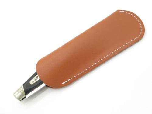 Lot 2 - Leather Stockman Trapper Folding Pocket Knife Sheath Buck 301 Case
