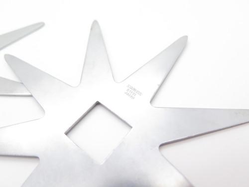 """LOT of 2 VINTAGE VALOR TAK FUKUTA LARGE 5.25"""" NINJA STAINLESS STEEL 8 POINT THROWING STARS"""