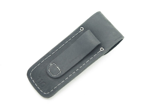 BUCK 110 BLACK DISTRESSED FOLDING LEATHER SHEATH POUCH HUNTER KNIFE