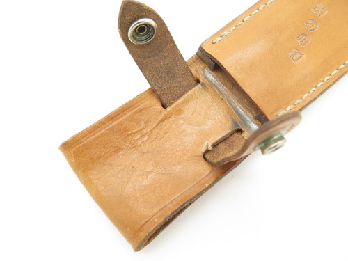Vintage Buck Custom 120 S Stag General Natural Leather Fixed Blade Knife Sheath Used