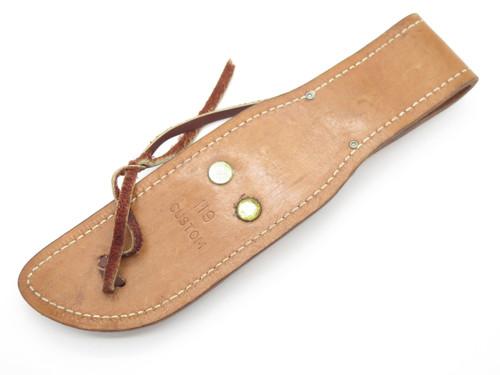 Vtg Buck 119 Custom Natural Leather Fixed Blade Knife Shadow Sheath