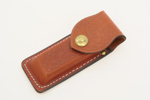 "Vtg Case XX 4.25"" Basketweave Leather Folding Hunter Pocket Knife Sheath"