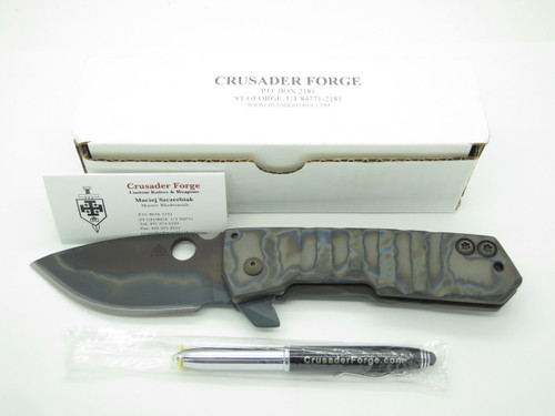 Crusader Forge FIFP Custom Phantom Titanium S30V Folding Framelock Pocket Knife