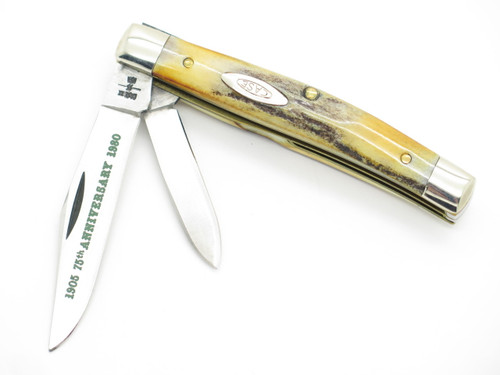 Vtg 1980 Case XX 5244 75th Anniversary Small Stag Folding Pocket Jack Knife