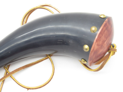 "USA Handmade John Nelson Idaho 13"" Buffalo Mountain Man Black Powder Rifle Horn"
