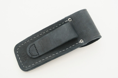 BUCK 110 BCCI 30TH BLACK DISTRESSED LEATHER FOLDING HUNTER KNIFE SHEATH POUCH