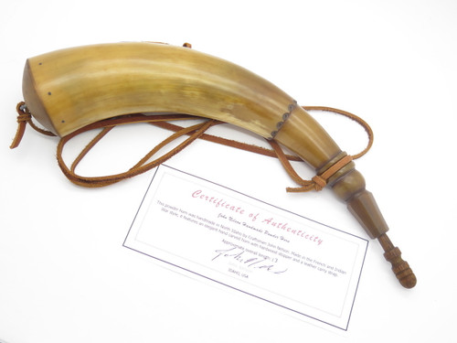 "HANDMADE JOHN NELSON IDAHO 13"" FRENCH INDIAN WAR MOUNTAIN MAN BLACK POWDER HORN (12)"
