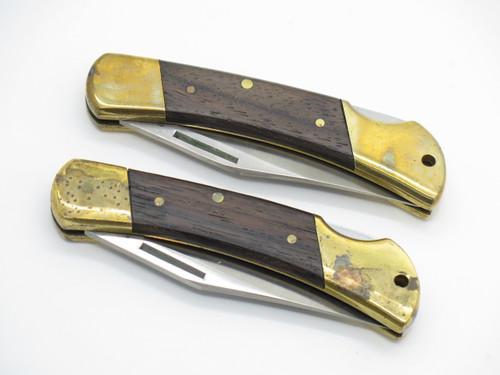 Lot Of 2 Explorer 11303 Seki Japan Folding Hunter Lockback Pocket Knife *tarnish