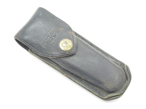 VINTAGE BUCK 110 111 USED BLACK LEATHER FOLDING HUNTER LOCKBACK KNIFE SHEATH