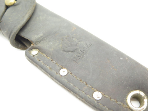 Vintage Puma Germany Black Leather Fixed Blade Knife Sheath Used