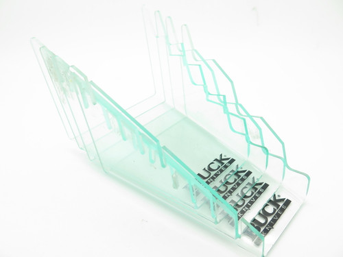 Lot of 4 Used Buck Acrylic Tier Knife Counter Stand Fixed Blade Folding Display