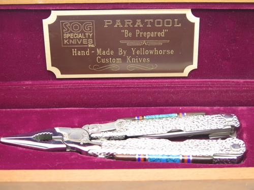 VINTAGE SOG USA PARATOOL CUSTOM DAVID YELLOWHORSE FOLDING KNIFE MULTI TOOL PLIERS
