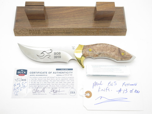 Buck Custom Limited Paul Bos 408 Kalinga Pro S30V Burlwood Fixed Hunting Knife