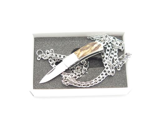 Inagaki Seki Japan Miniature Keychain Mini Jewelry Stag Tiny Folding Neck Knife