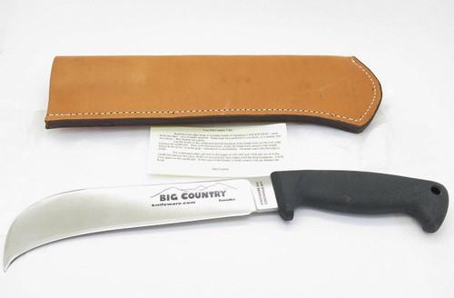 KNIFEWARE HOOKR AUS-8 SEKI JAPAN HOOK SUGAR CANE KNIFE & SHEATH BLACKJACK