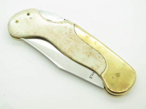Vtg Olsen OK 162 Lil Brassy Seizo Imai Seki Japan Folding Lockback Pocket Knife